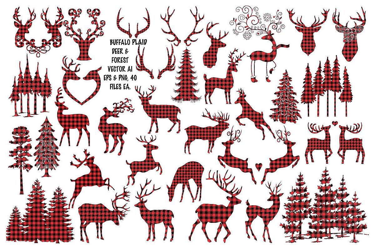 Buffalo Plaid Vector Deer & Forest AI EPS Vecor & PNG example image 1