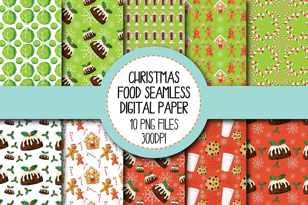 Watercolor Christmas Food Seamless Digital Papers Set 1 example image 1