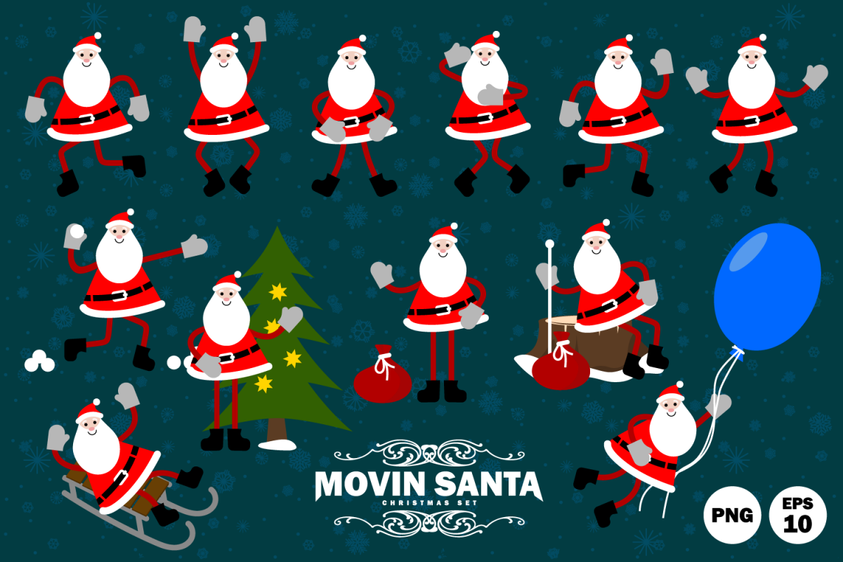 Happy Santa Claus in motion. example image 1