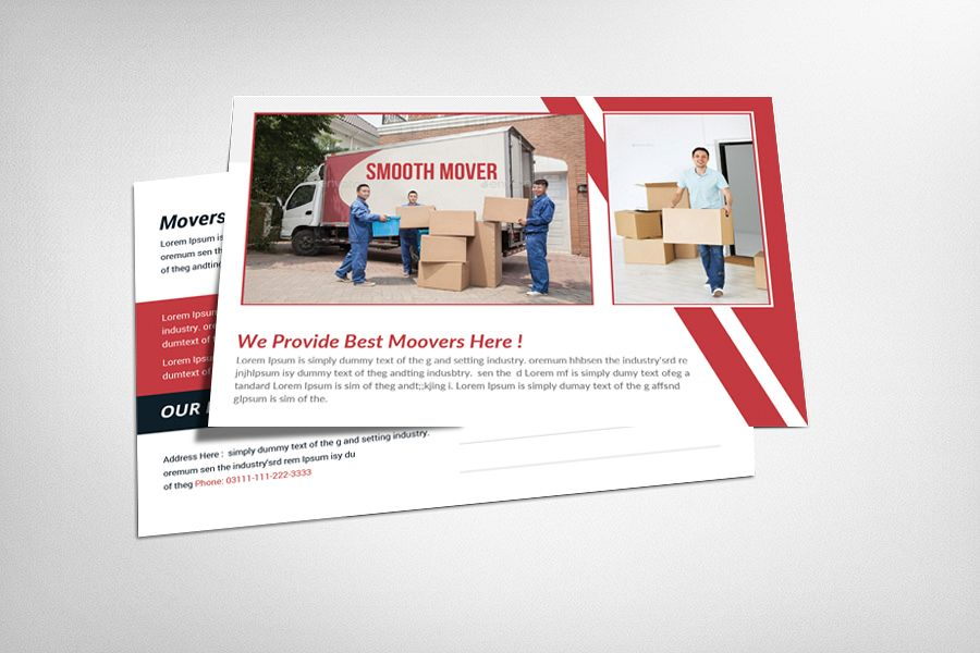 Movers & Moving Company Postcard Template example image 1