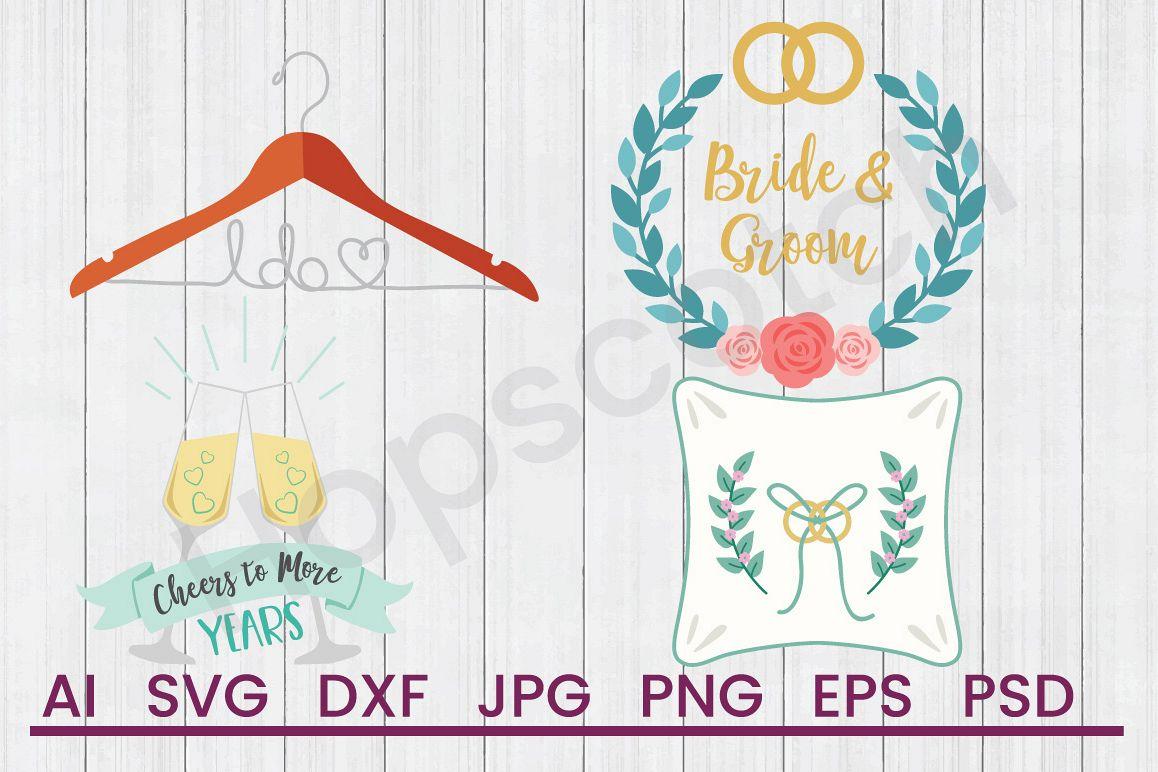 Wedding SVG Bundle, DXF File, Cuttable File example image 1
