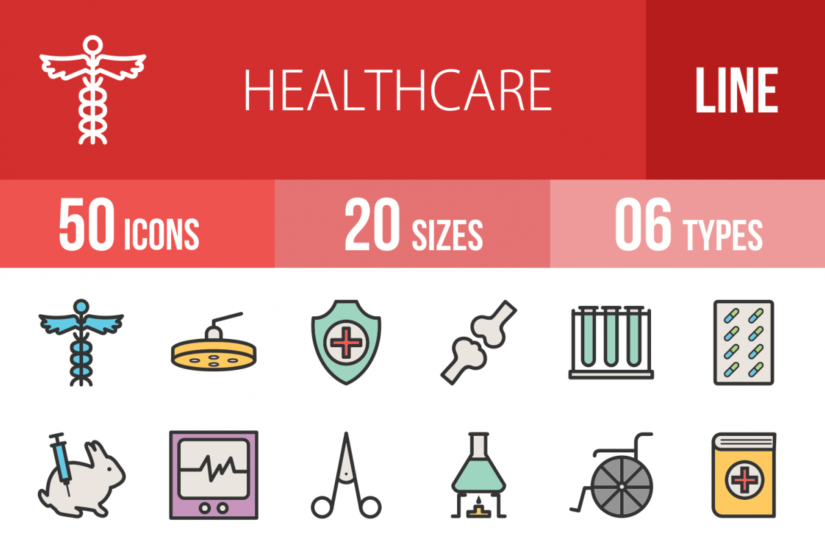 50 Healthcare  Linear Multicolor Icons example image 1