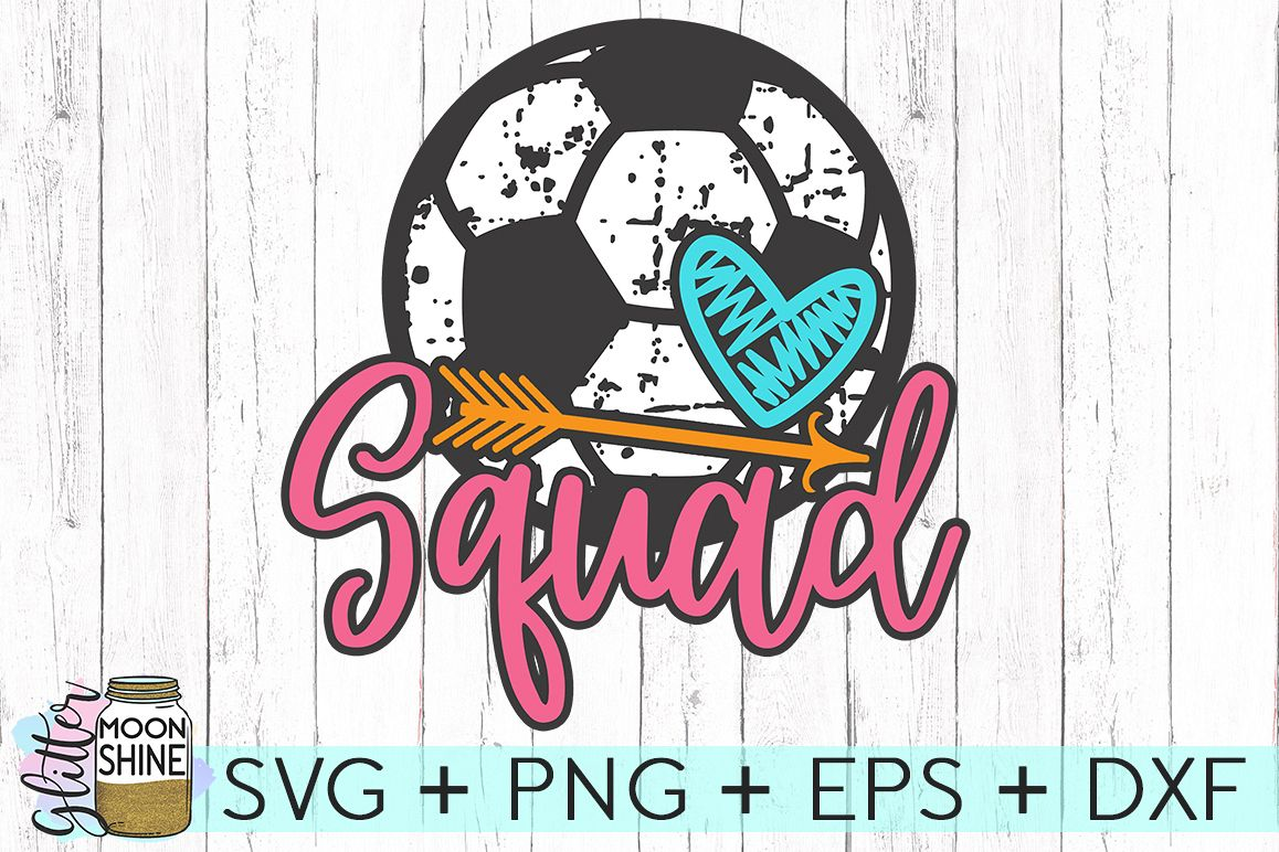 Soccer Squad Distressed SVG DXF PNG EPS Cutting Files example image 1