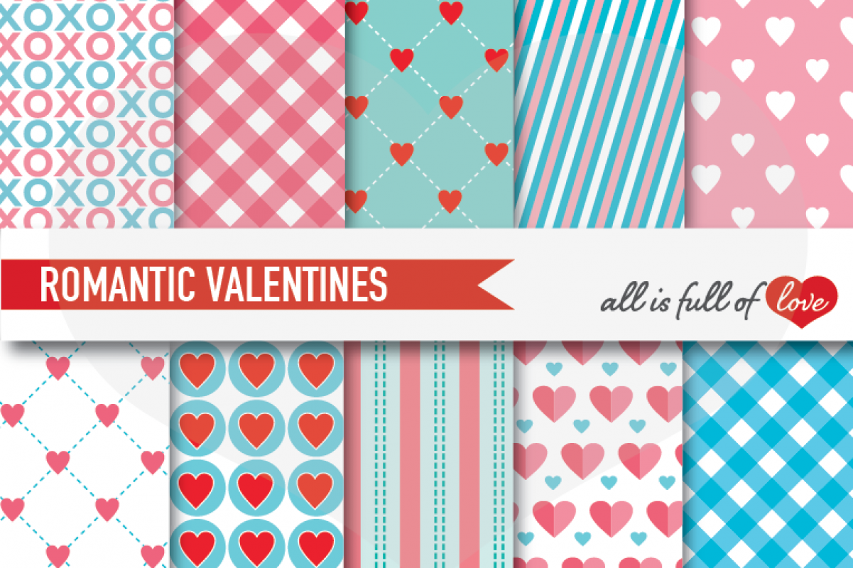 Turquoise and Pink Valentines Day Patterns Hot Love Digital Paper Pack example image 1