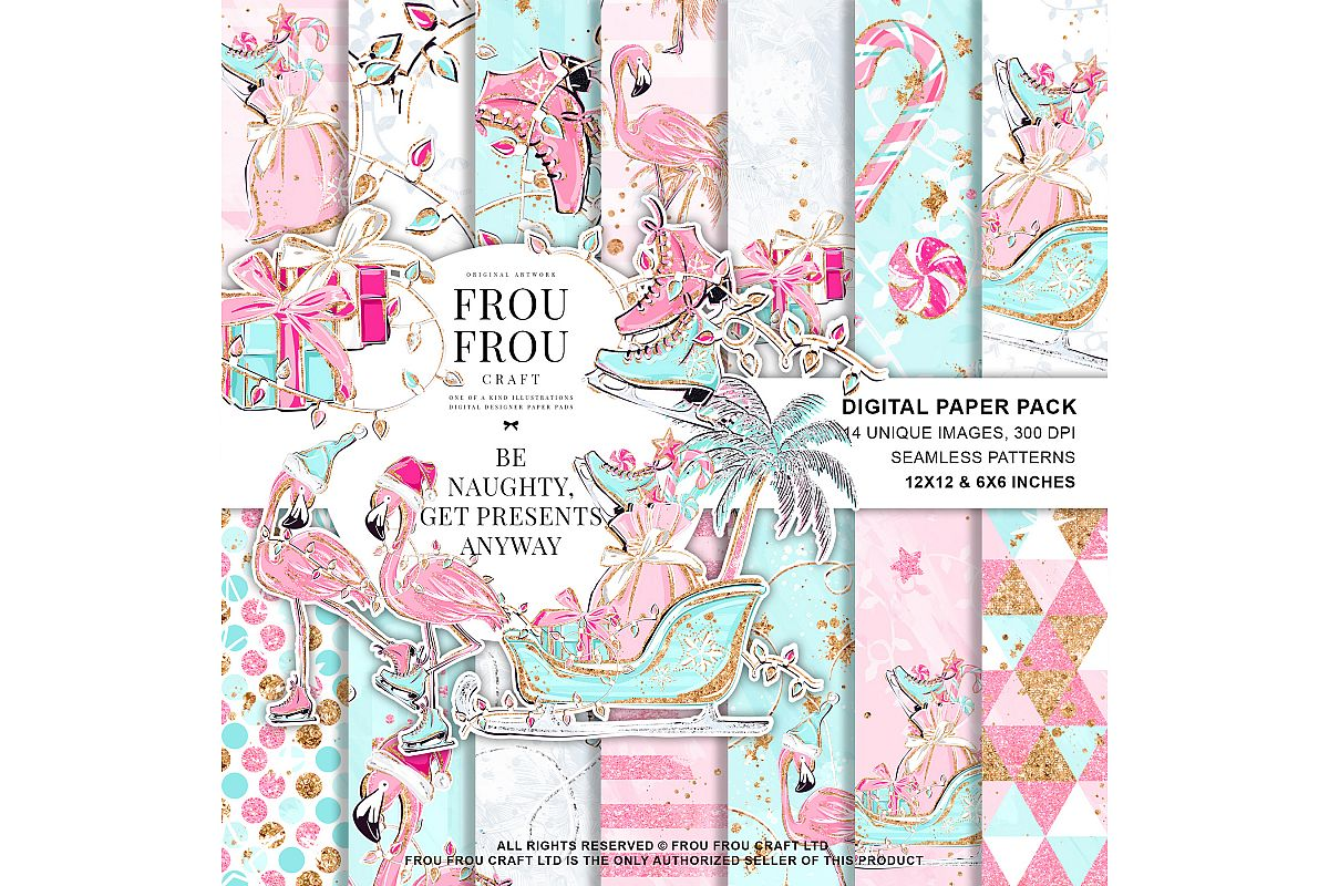 Pink Flamingo Christmas Presents Glitter Paper Pack example image 1