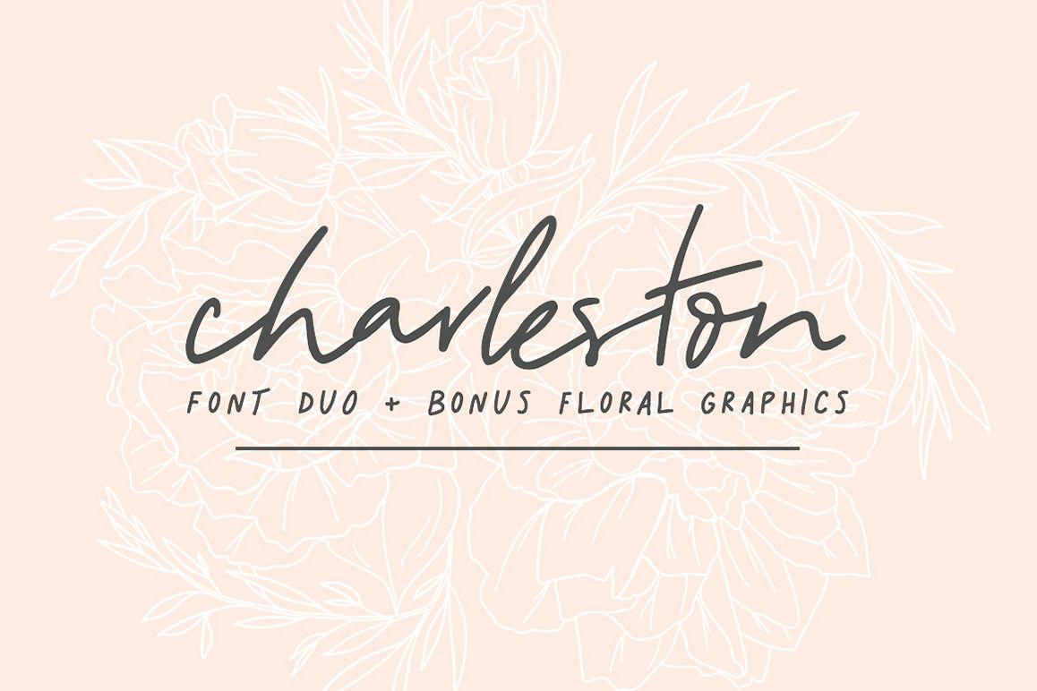 Charleston | Font Duo + Bonus Floral example image 1