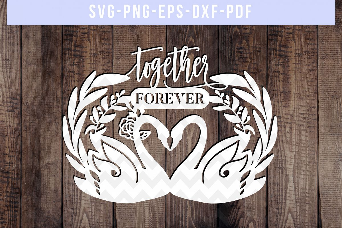 Together Forever Papercut Template, Swan Couple SVG, DXF PDF example image 1