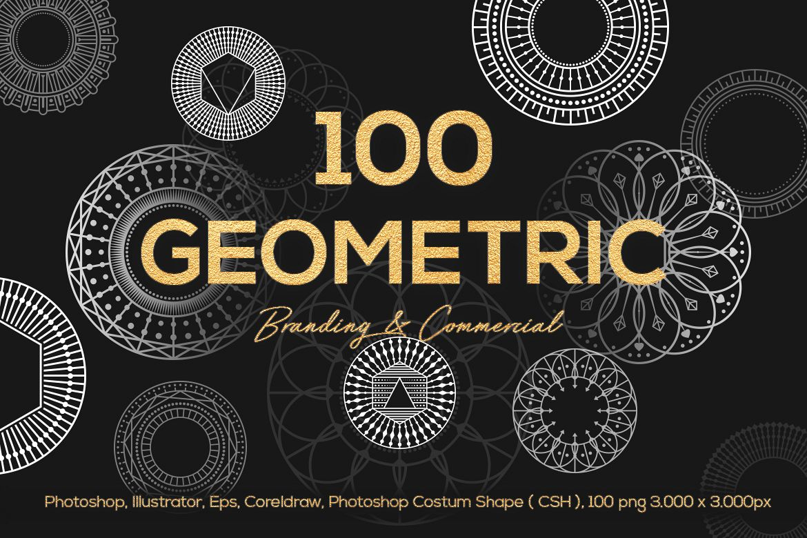 100 Geometric Vector Shapes CSH example image 1