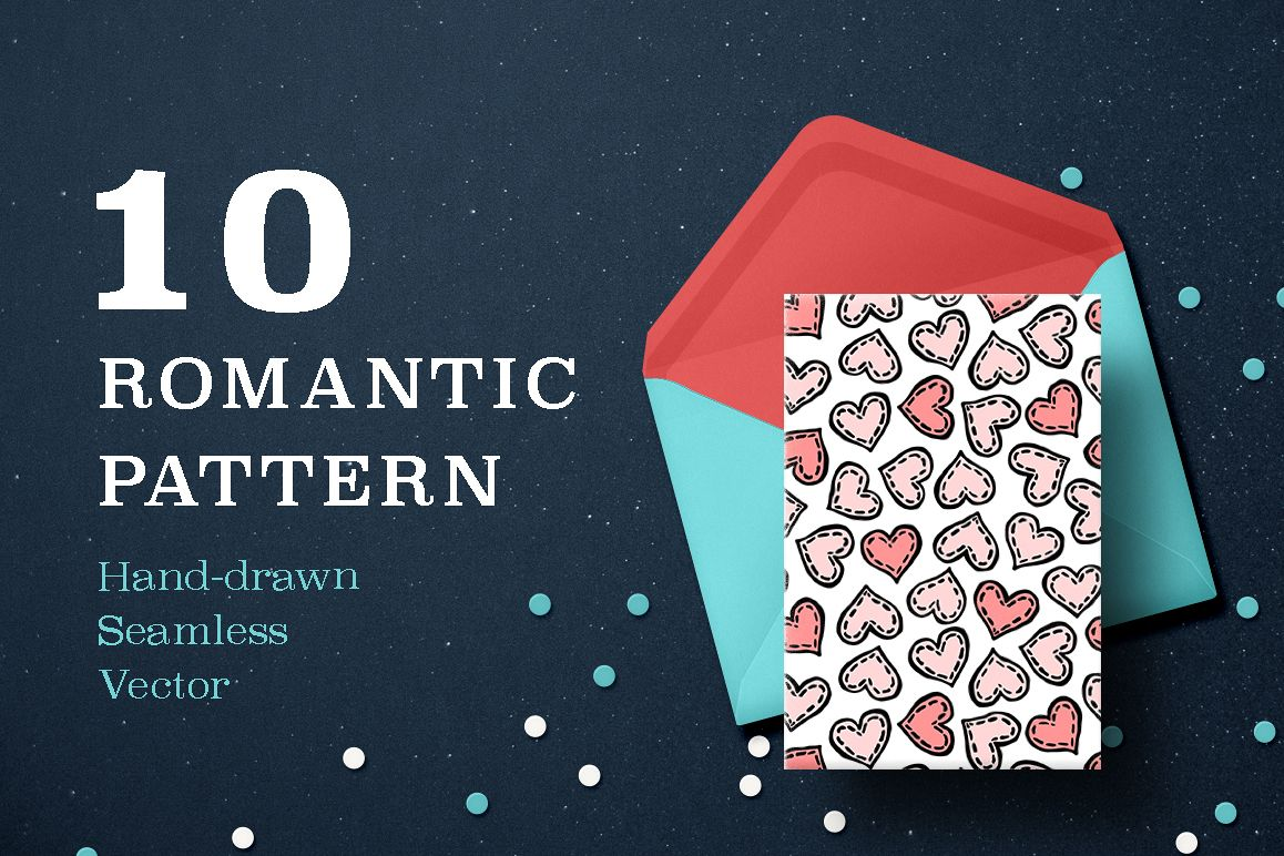 10 Seamless hand drawn vector texture to Valentine's day example image 1