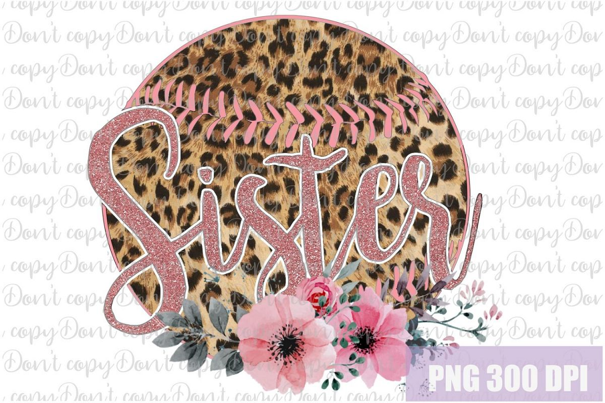 Baseball leopard ball Sister with Flowers Sublimation PNG example image 1