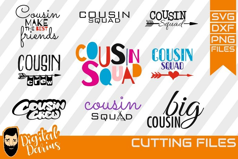 9x Cousin Crew bundle, Cousin svg. Arrow svg, Circuit Cut example image 1