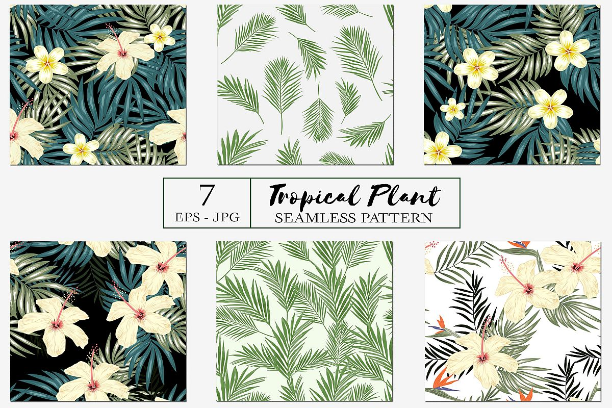 Seamless Pattern with Tropical Plant Bundle example image 1