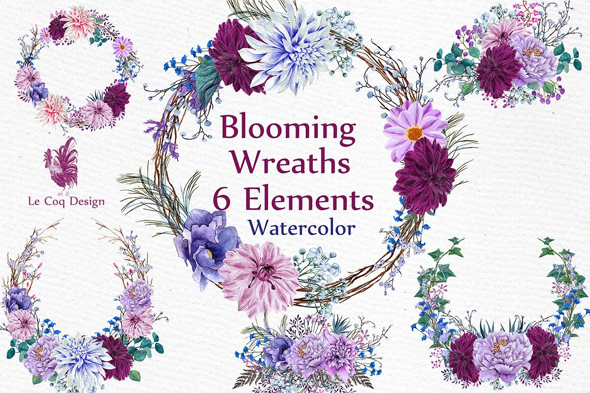 Watercolor Wreaths Clipart example image 1
