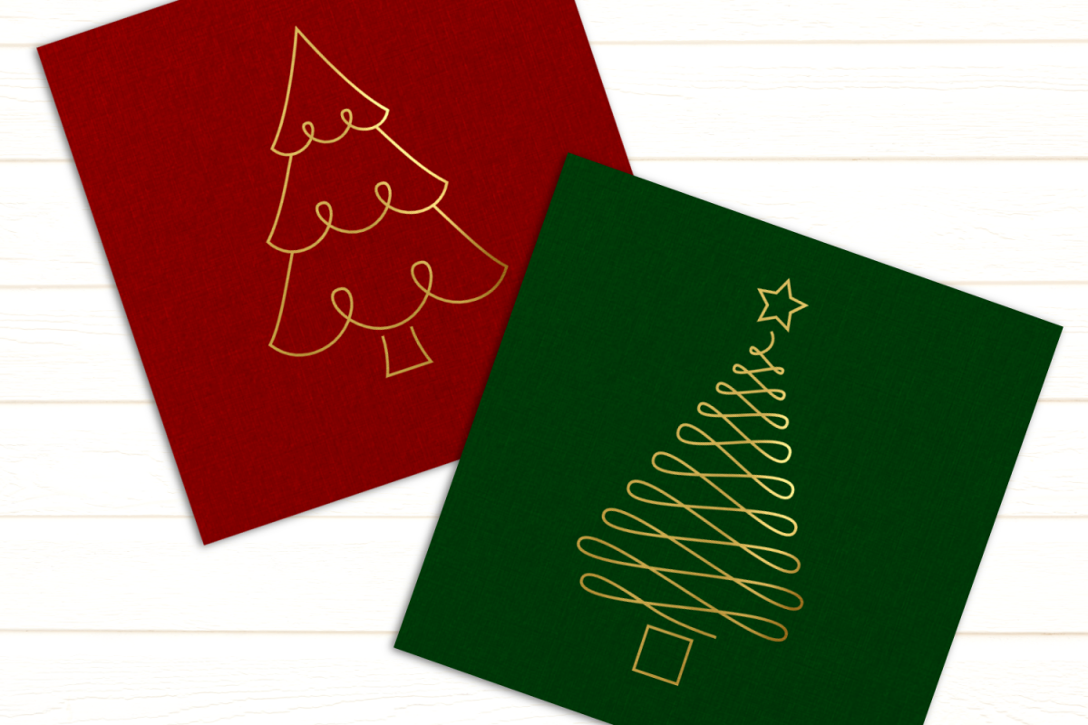 Christmas Tree Duo SKETCH Single Line Pen & Foil Quill SVG example image 1