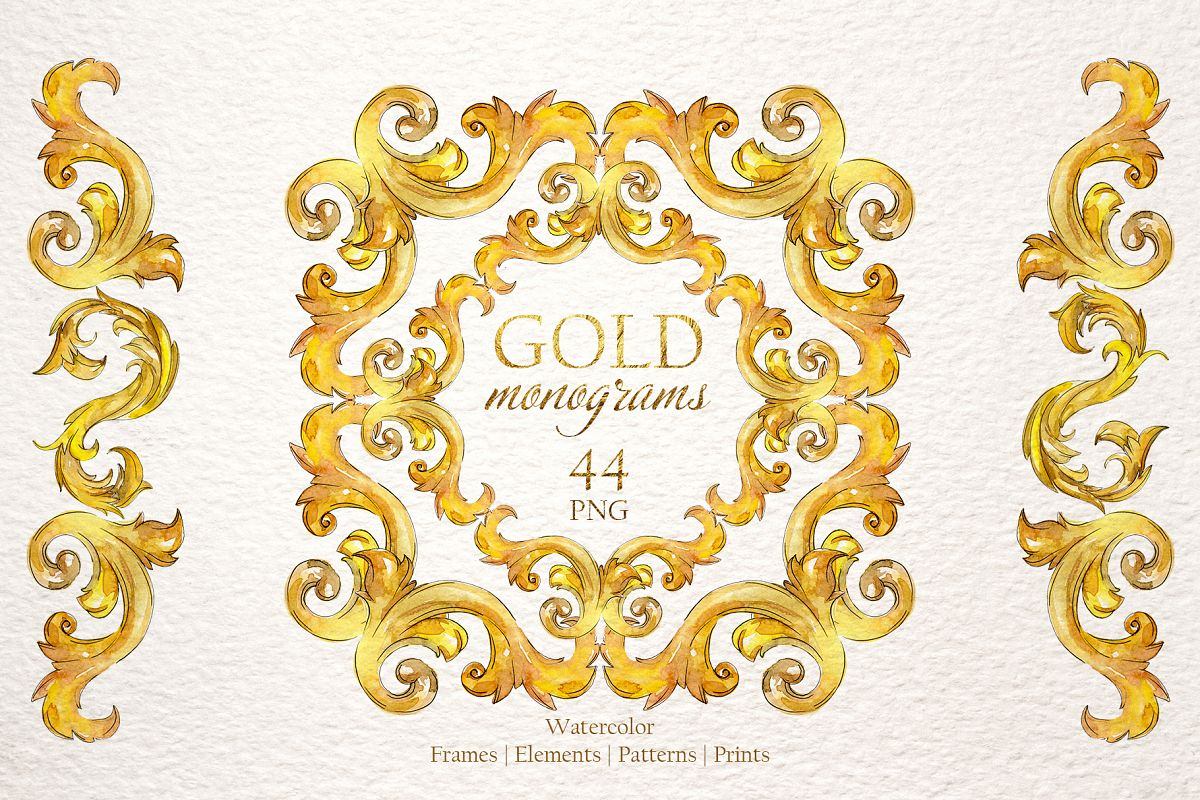 Gold monograms Watercolor png example image 1