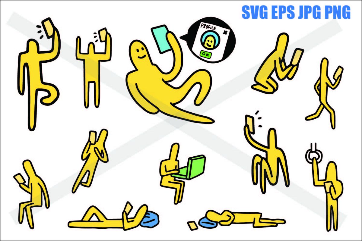 Doogle Guy Everyday Action - SVG EPS JPG PNG example image 1
