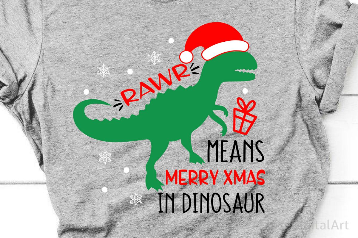 Boy Christmas Svg, Rawr Means Merry Xmas in Dinosaur, T-Rex example image 1