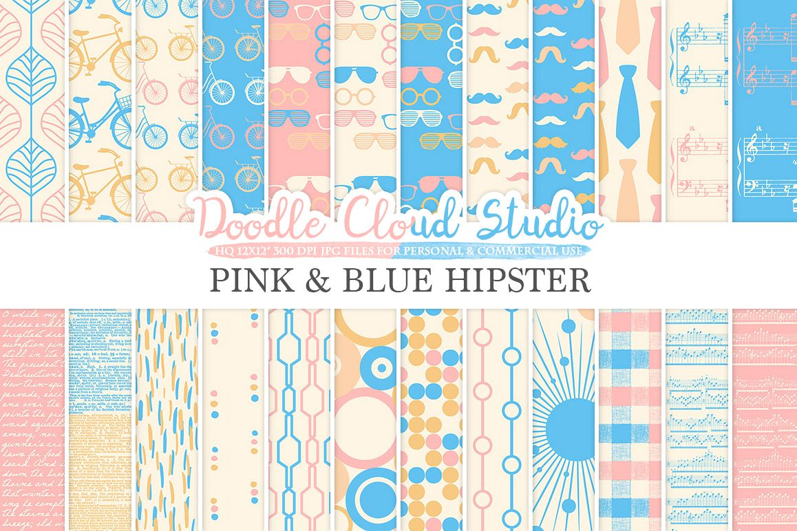 Pink and Blue Hipster digital paper Vintage Father's day tie mustaches bikes music glasses plaid Azure patterns Personal & Commercial Use example image 1