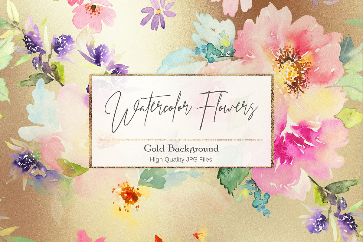 Watercolor Flowers Gold Backgrounds example image 1