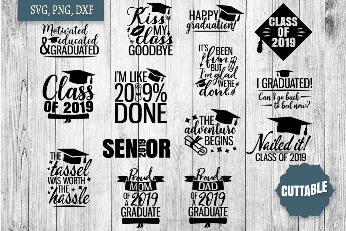 Graduation SVG bundle, Graduate 2019 quote cut file bundle example image 1