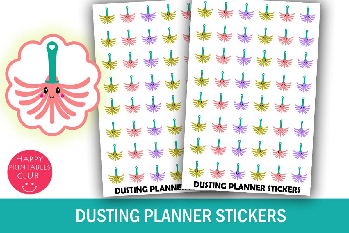 Dusting Planner Stickers-Clean House Stickers-House Chores example image 1
