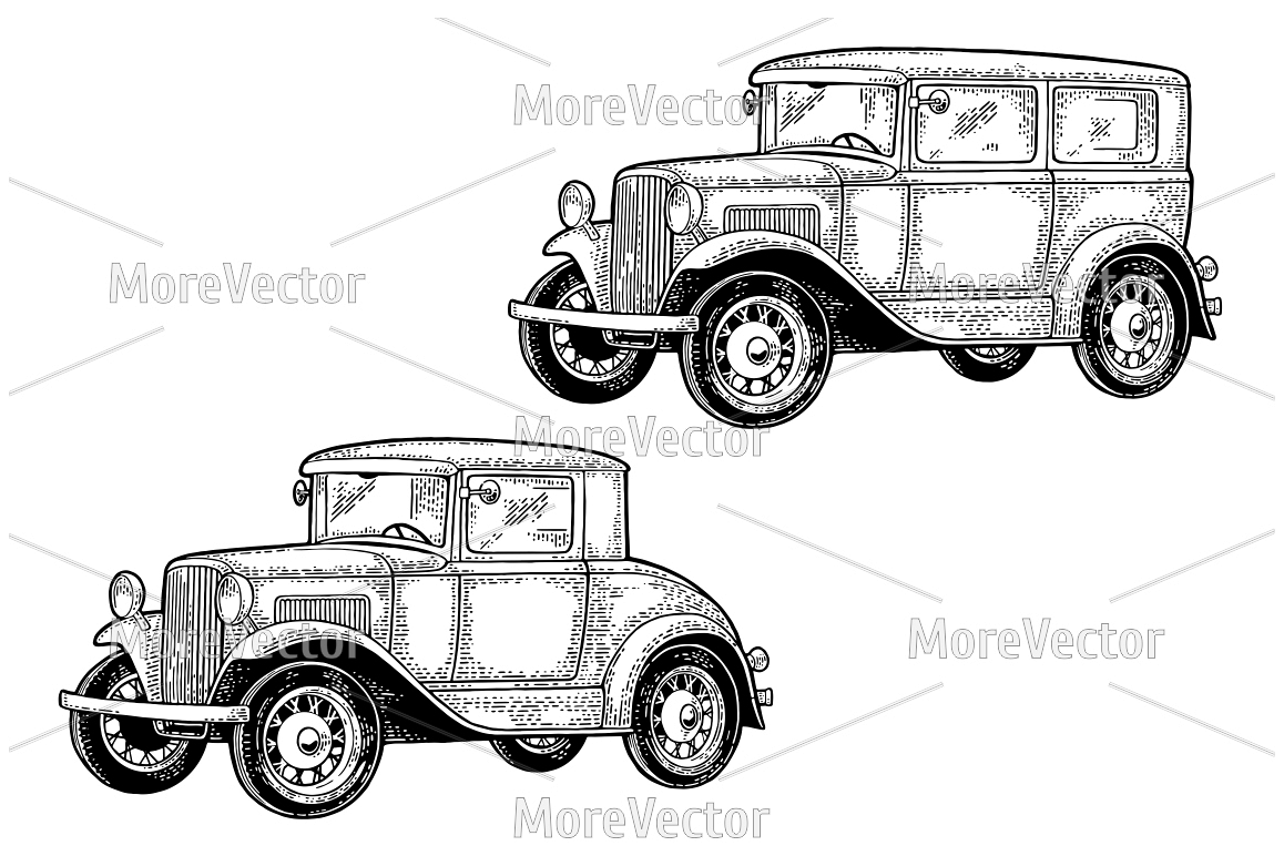 Retro car sedan and coupe. Side view. Vintage black engraving  example image 1
