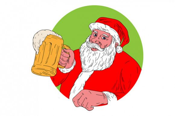 Santa Claus Drinking Beer Drawing example image 1