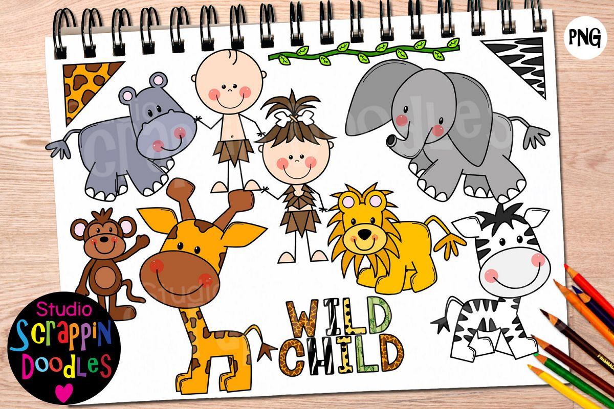 Jungle Babies Clip Art example image 1