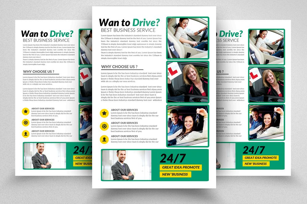 Learn Driving School Flyers Template example image 1