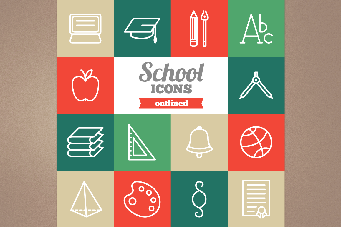 Outlined School Icons example image 1