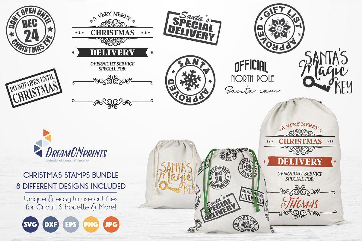 Christmas Stamps & Santa Sack SVG Bundle example image 1