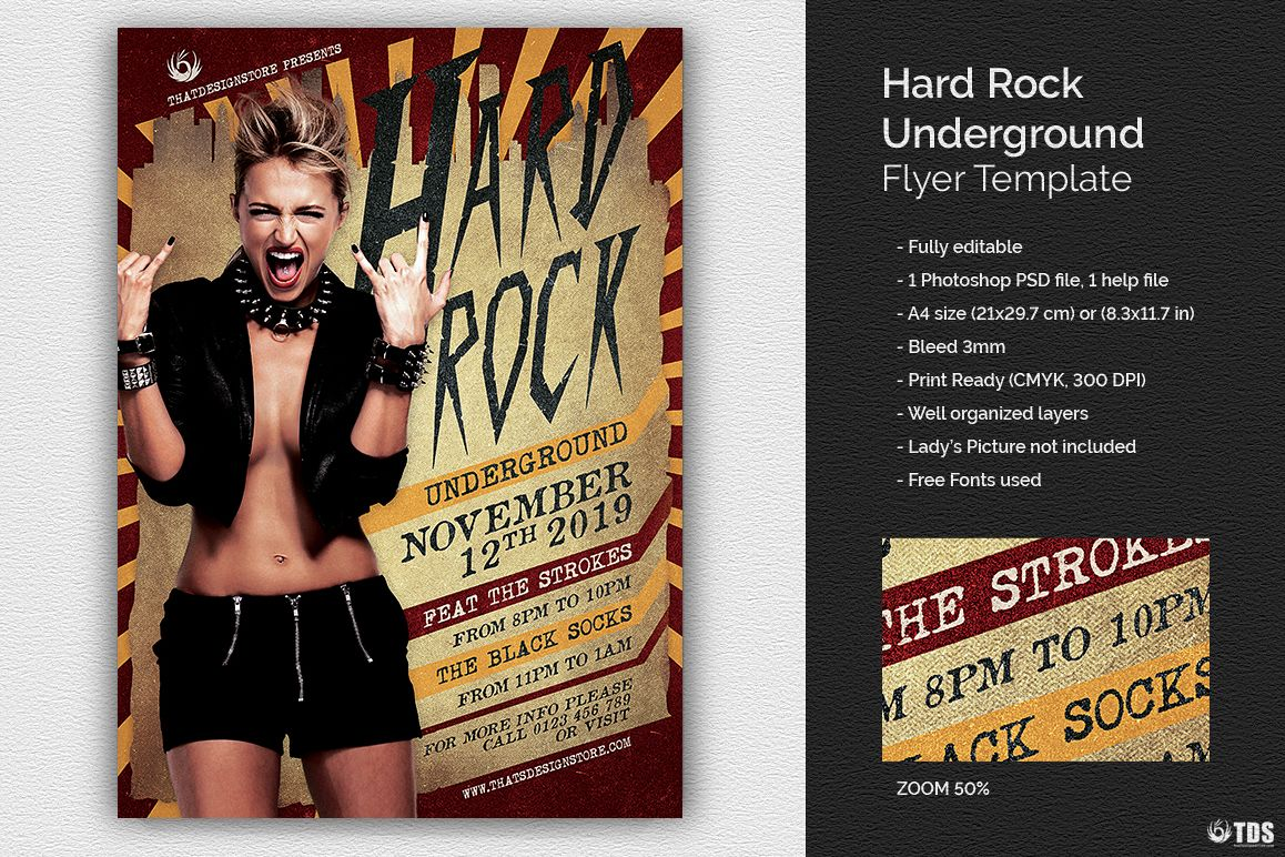 Hard Rock Underground Flyer Template example image 1