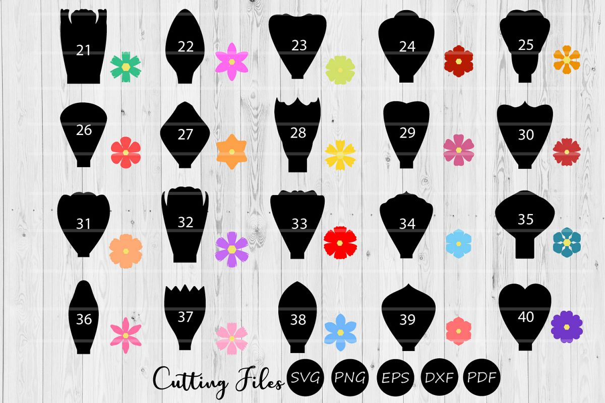 Paper Flowers Templates bundle 20 to 40|A1-40 | DIY projects example image 1