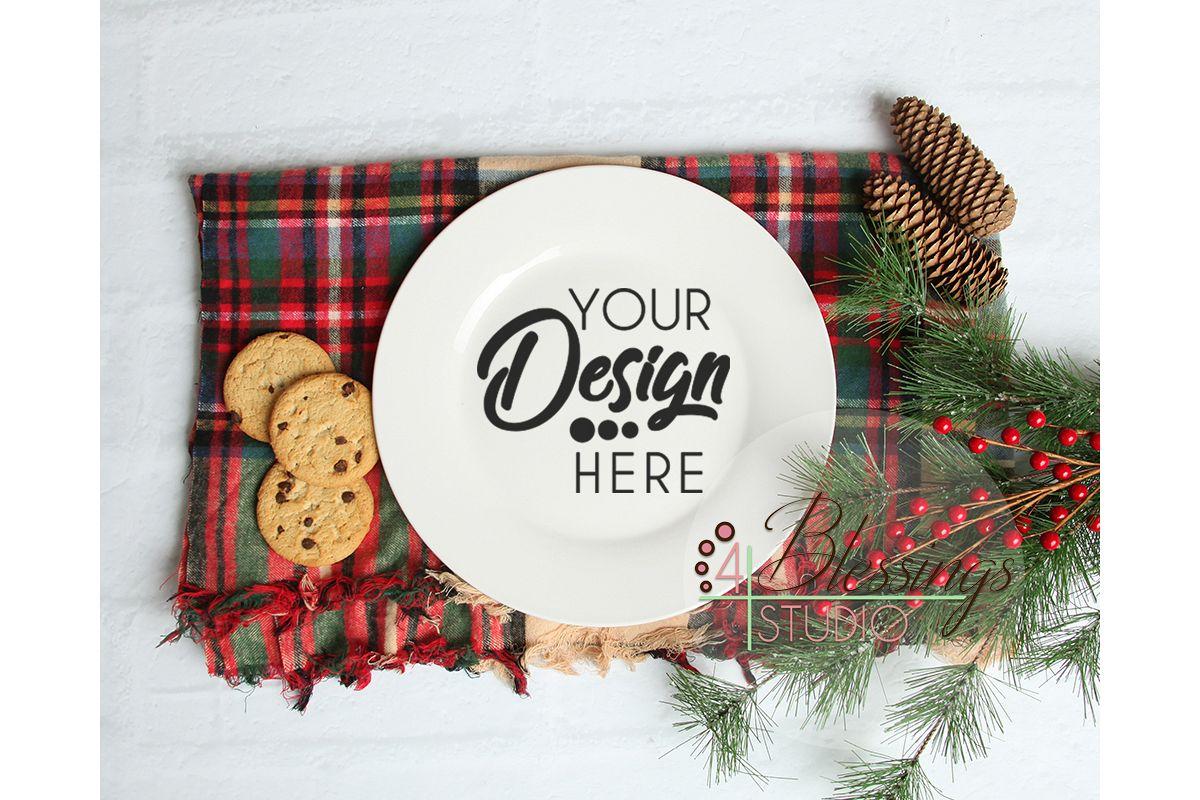 Plate Mockup, Christmas Mockup, Cookie Plate Mock Up example image 1