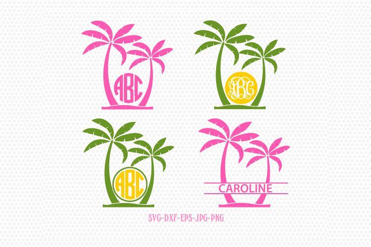 Palm Tree Svg Palm Tree Monogram Frames Beach Monogram Svgpalm