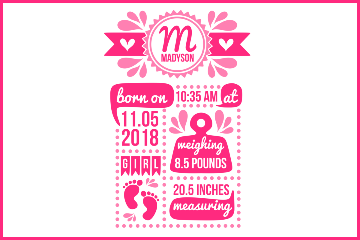 Birth stats svg, birth stats template, birth announcement example image 1