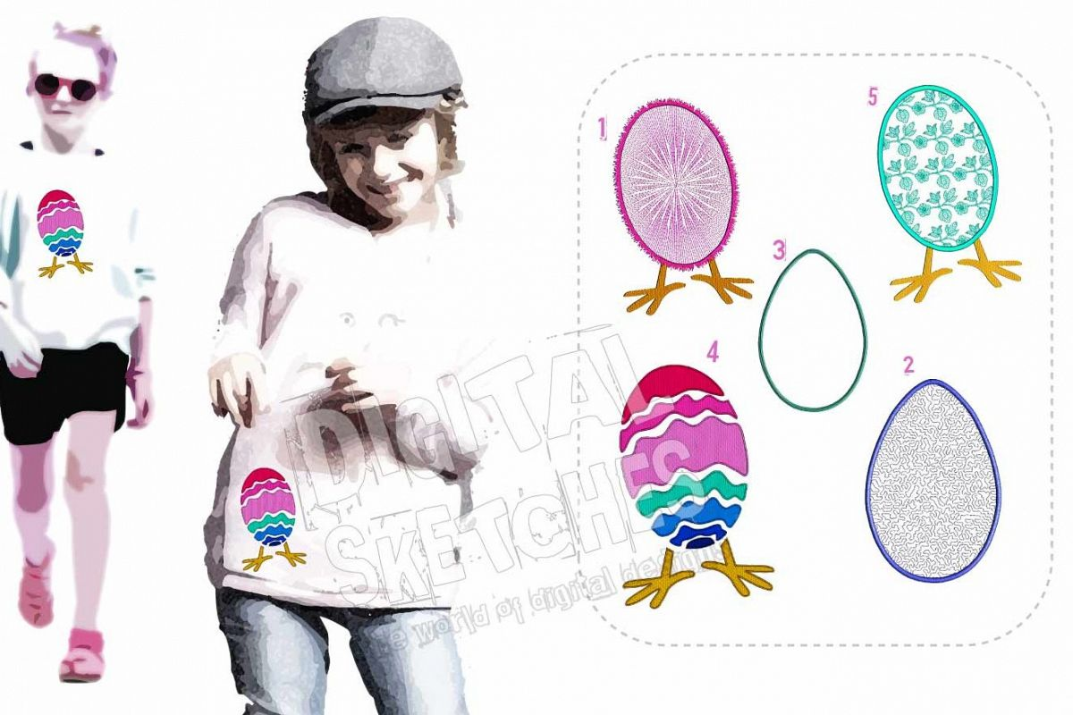 Easter Egg Applique Design Machine Embroidery 3 Sizes example image 1
