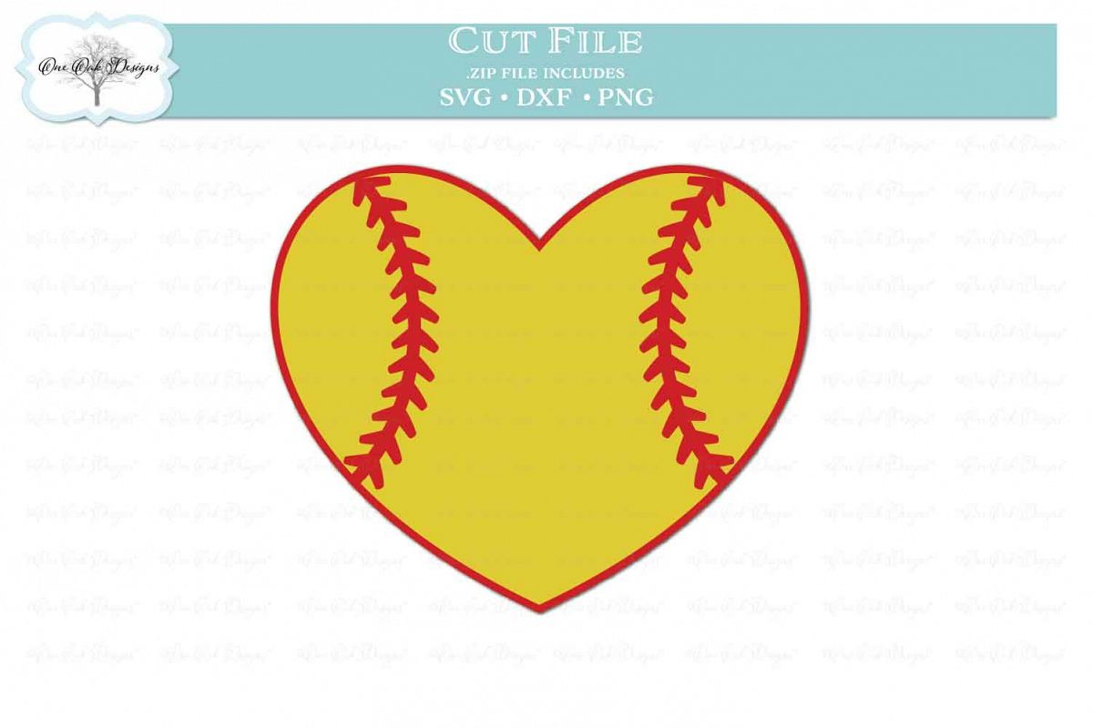 Softball Heart - SVG DXF PNG example image 1