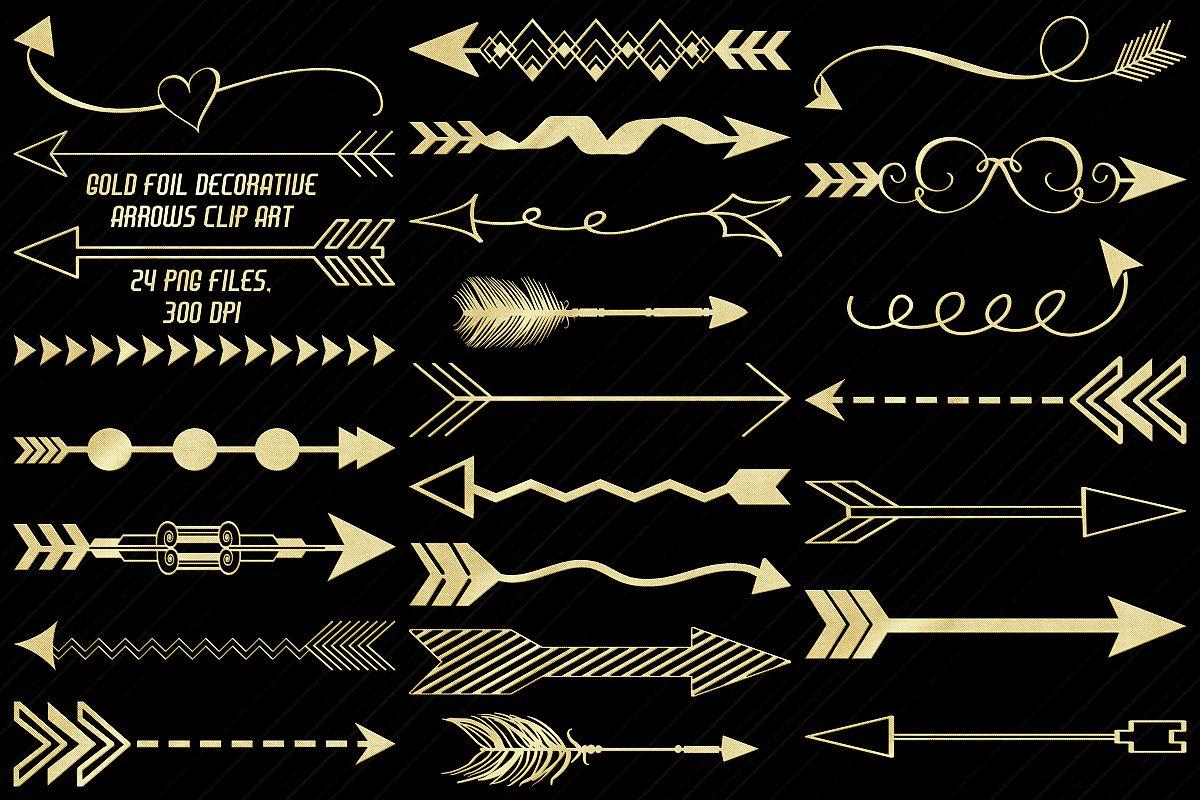 Gold Foil Decorative Arrows Clip Art example image 1