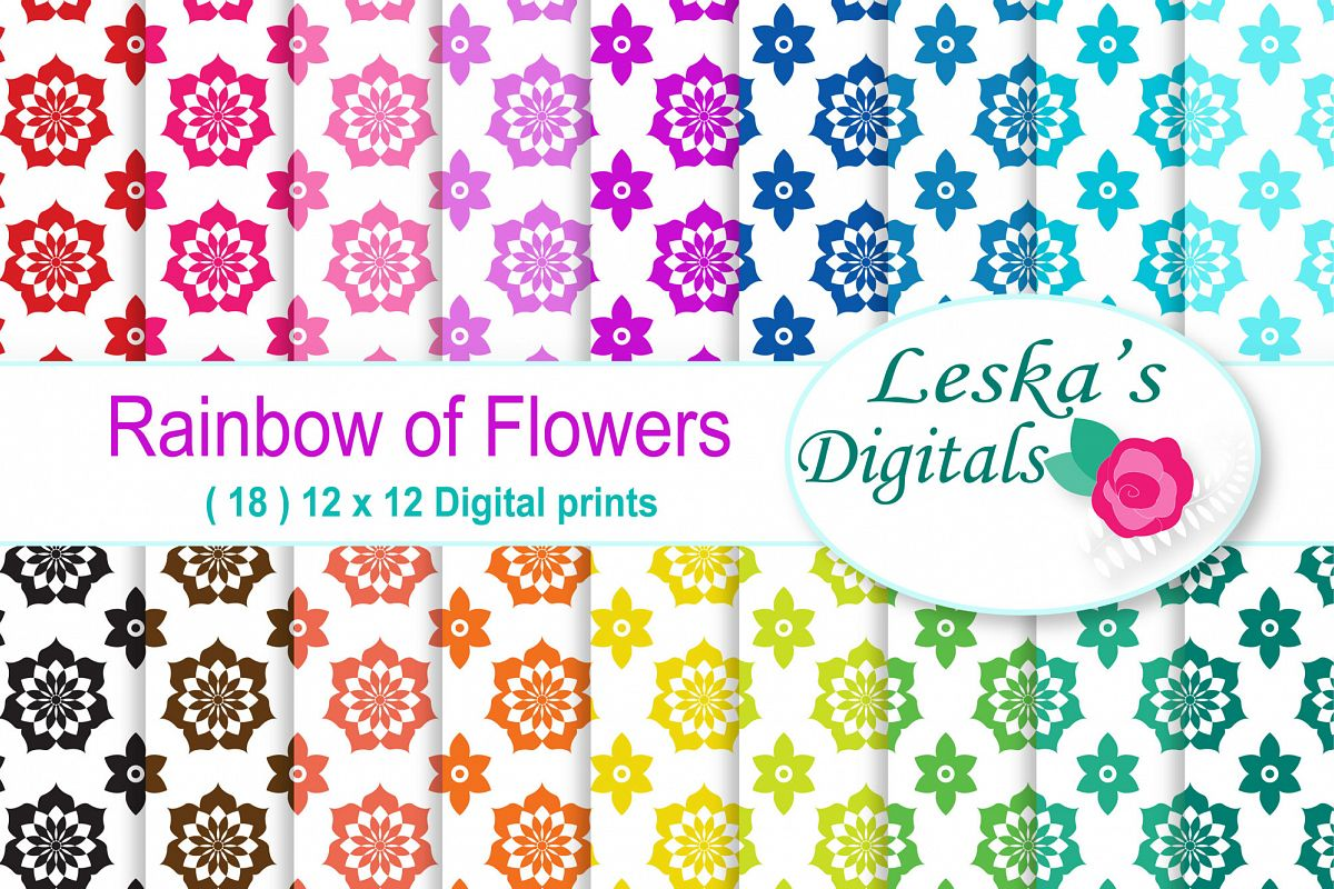 Rainbow Floral Digital Paper example image 1