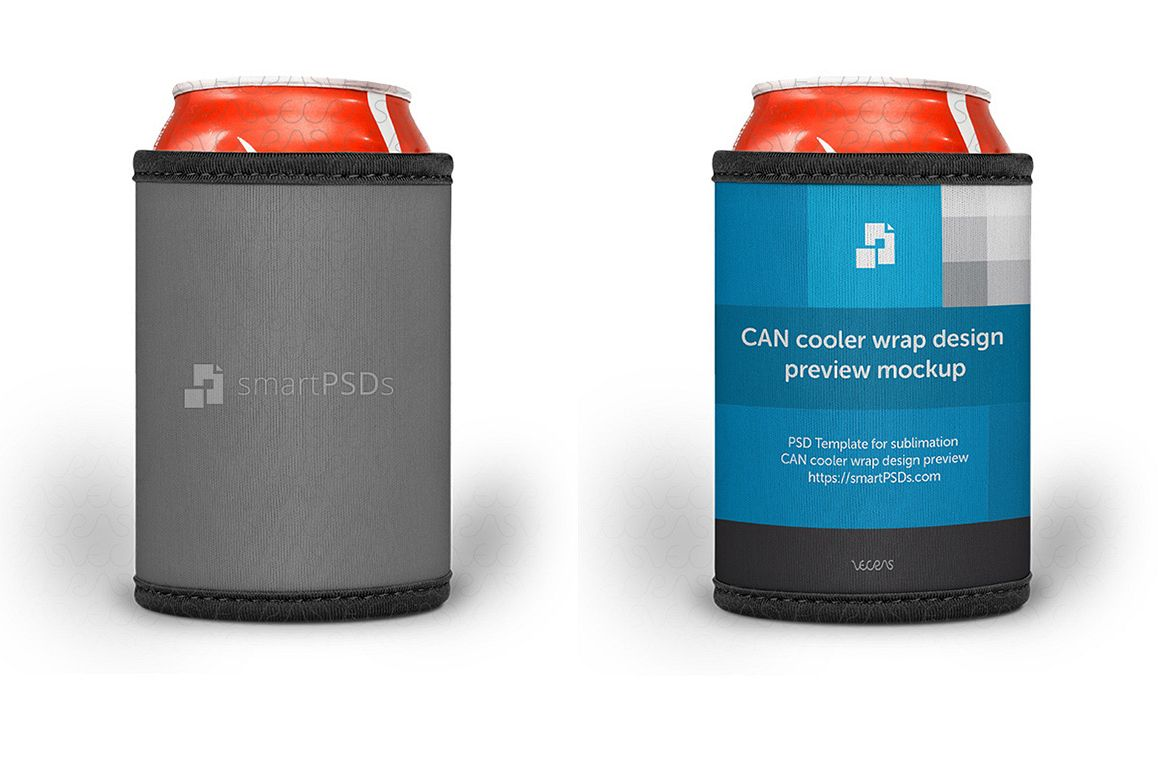 Can Cooler Wrap Design Mockup - 3 Views example image 1