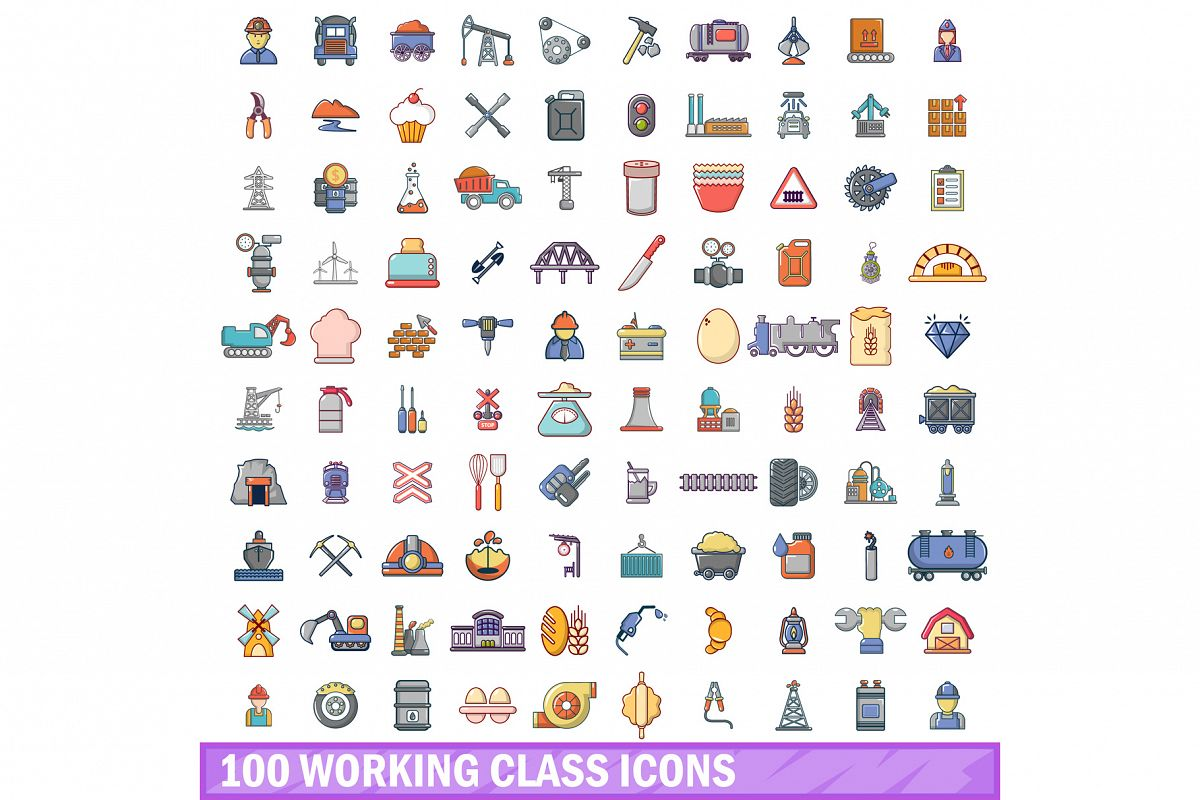 100 working class icons set, cartoon style example image 1