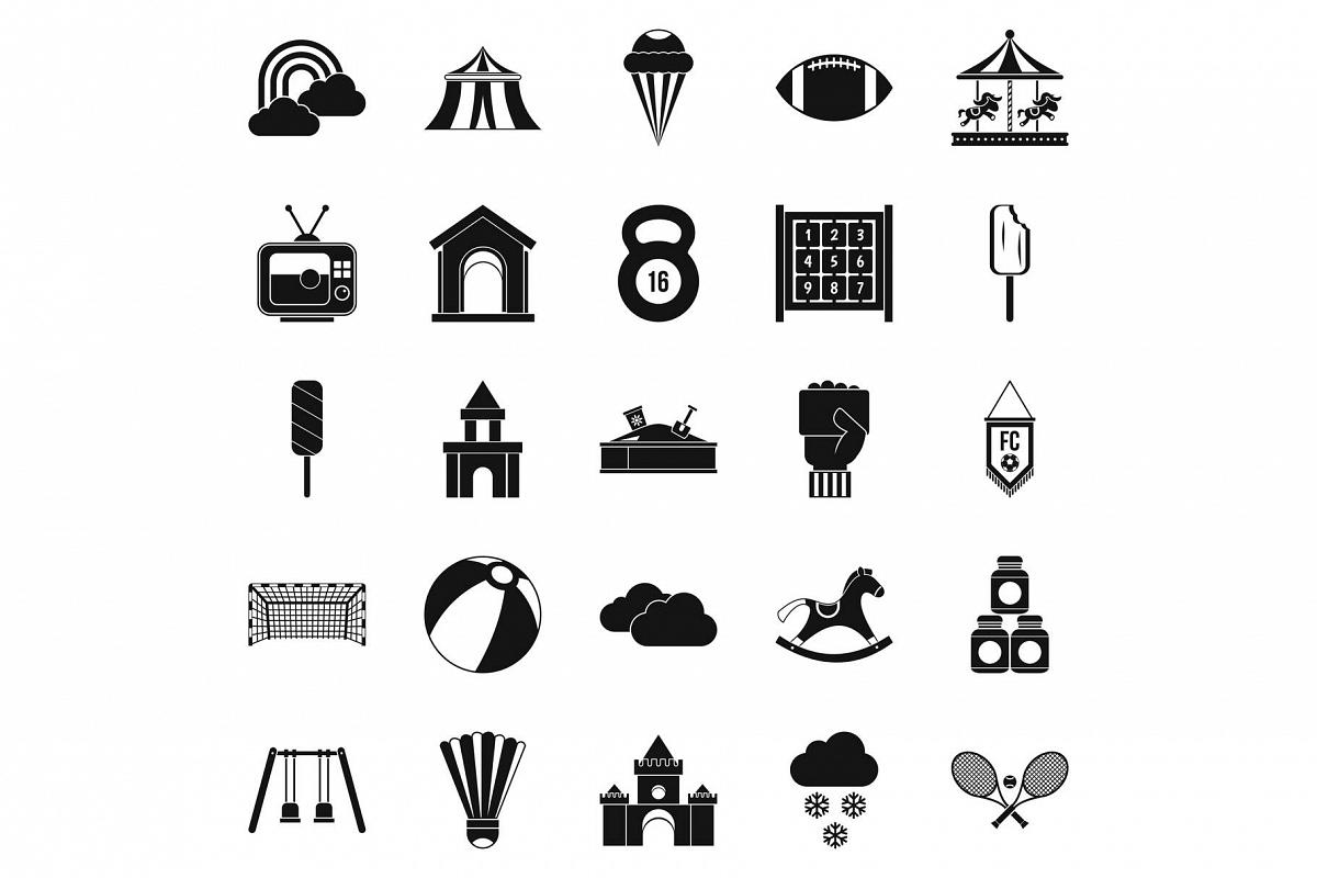 Children walk icons set, simple style example image 1