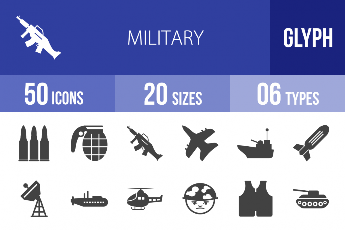 50 Military Glyph Icons example image 1