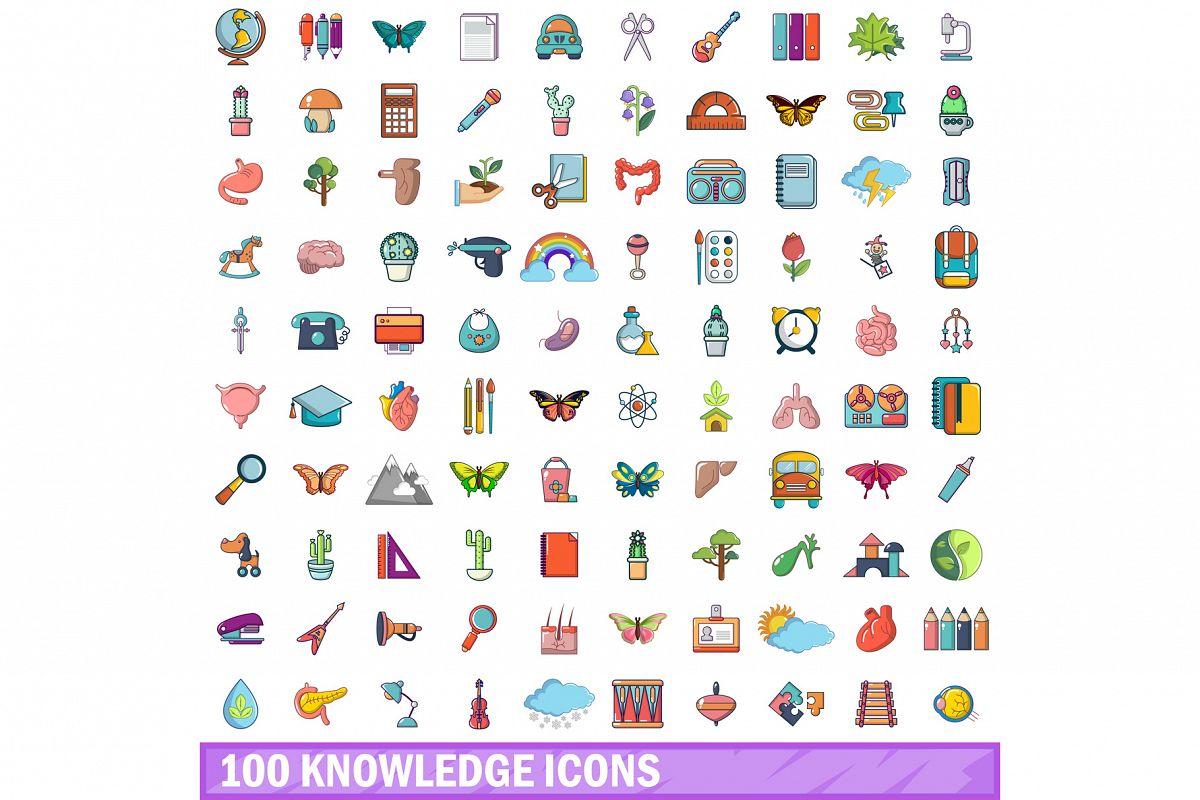 100 knowledge icons set, cartoon style example image 1