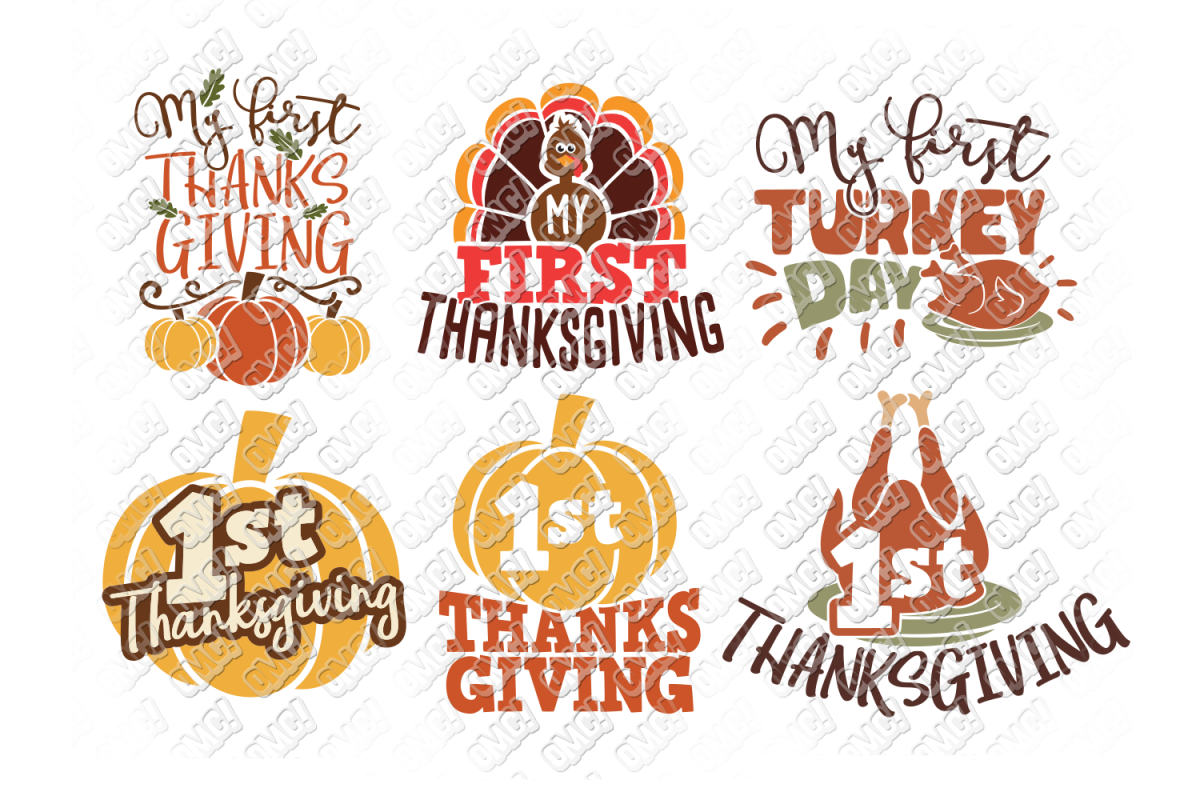 My First Thanksgiving SVG Baby in SVG, DXF, PNG, EPS, JPEG example image 1