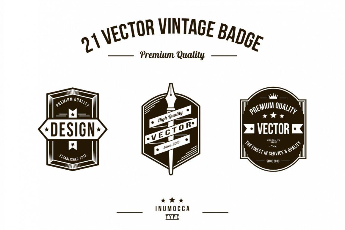 21 Vintage Badges (CLEAR & CRACK) example image 1