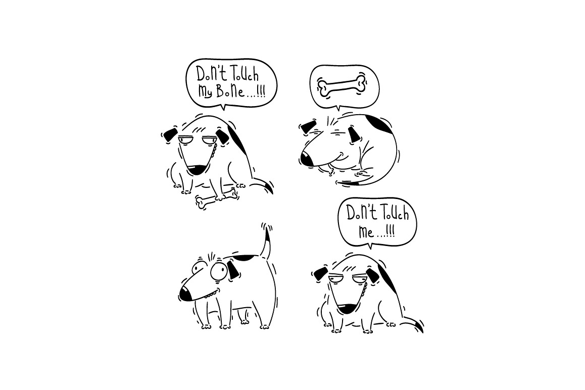 Set of funny hand drawn cartoon doggy. example image 1