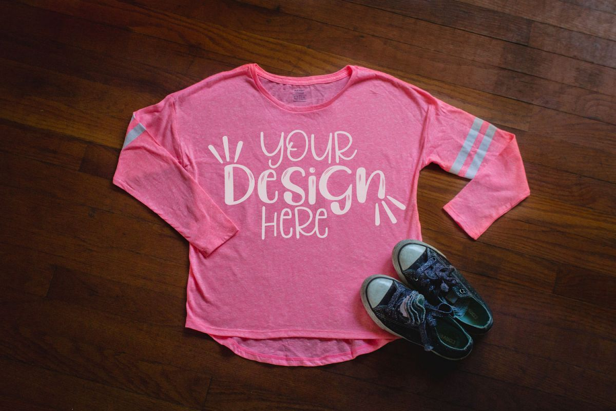 Youth Girls Pink Shirt Mockup example image 1