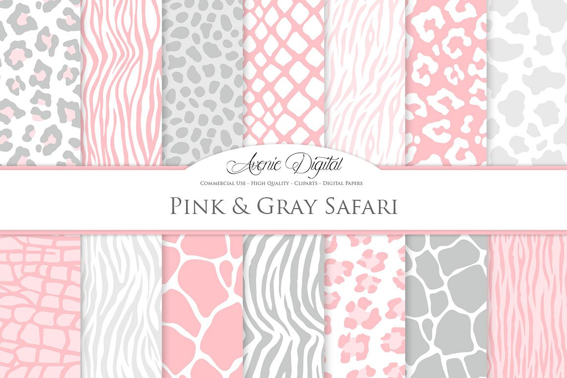 Pink and Gray Animal Print Vector Patterns - Pink Safari Seamless Digital Papers example image 1